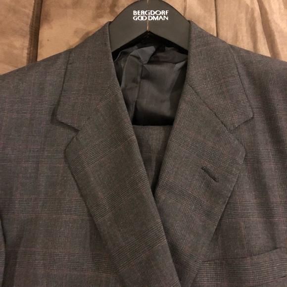 fe711d75ef46 Oxxford Clothes Suits & Blazers   Charcoal Red Glen Plaid Suit 46l ...